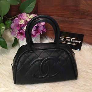 Authentic Preowned Chanel small bowler caviar